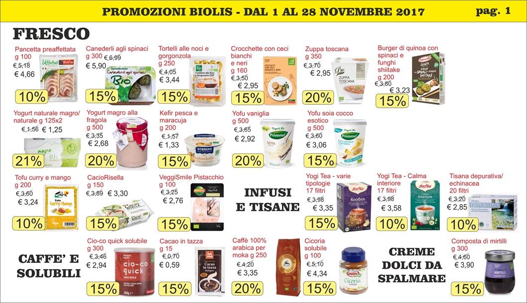 Volantini offerte Biolis Messina - novembre 2017