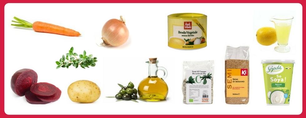 Ecco gli ingredienti della vellutata di barbabietole rosse vegan proposta da Manuela Garaffo di Vegan e Veg per Biolis