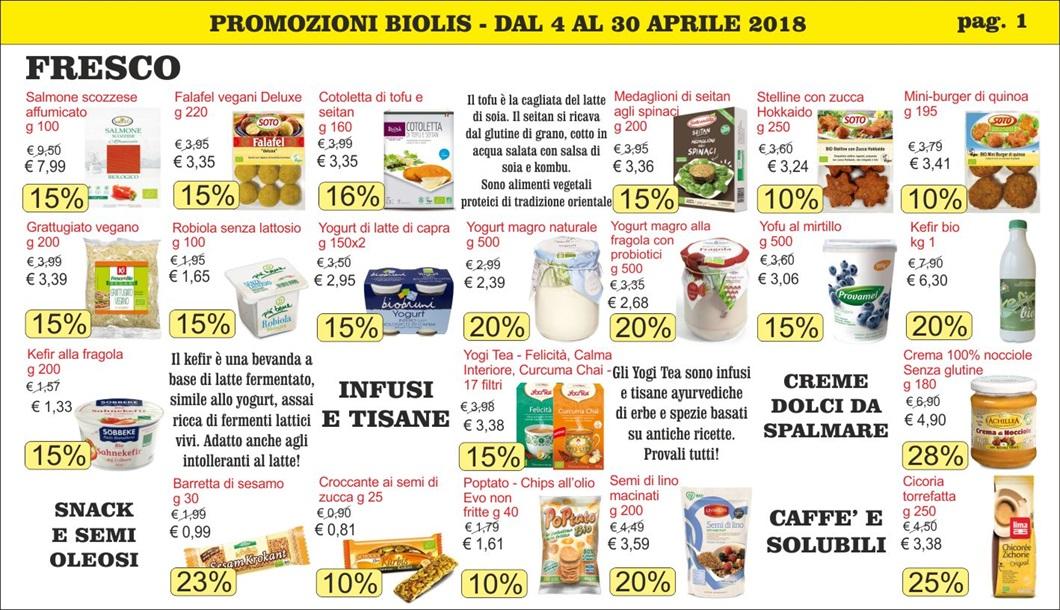 Volantino offerte Biolis - negozio biologico a Messina - Promozioni di aprile 2018 - Pag. 1